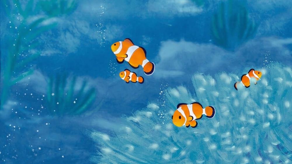 Clown fish digital art wallpaper