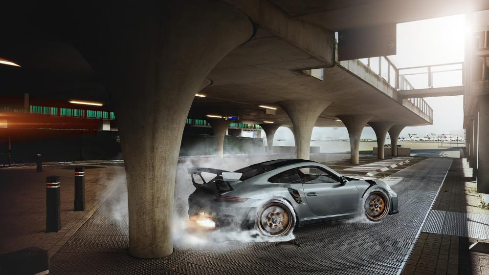 Porsche GT2 RS burning the wheels wallpaper