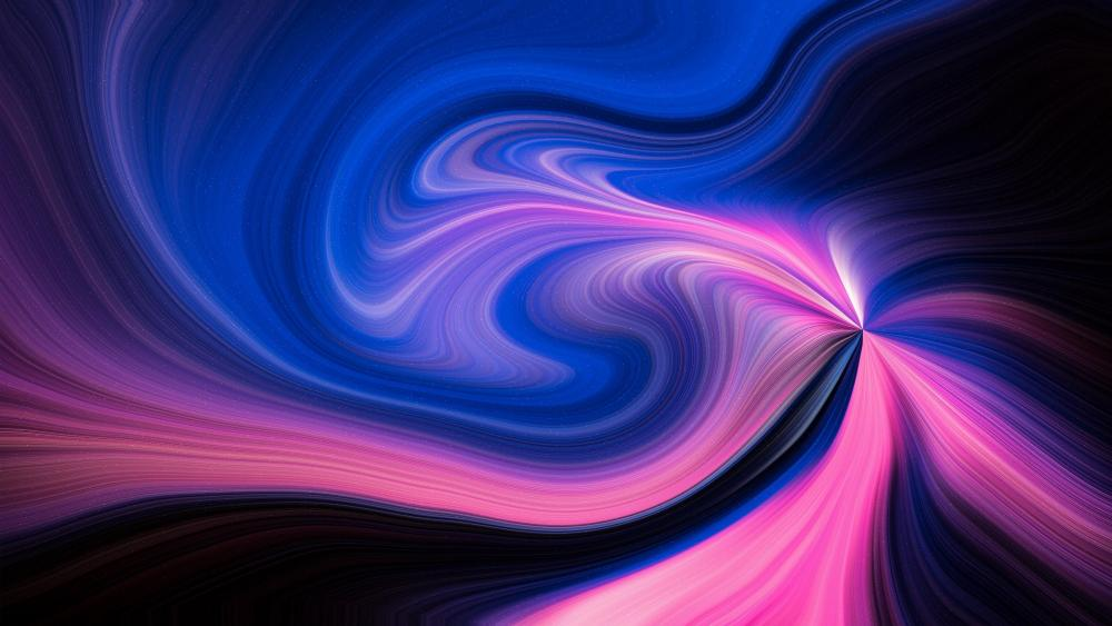 Swirls of blue and pink wallpaper