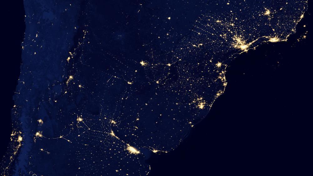 Night Lights of Southern & Southeastern Brazil, Argentina, Chile, Paraguay & Uruguay v2012 wallpaper
