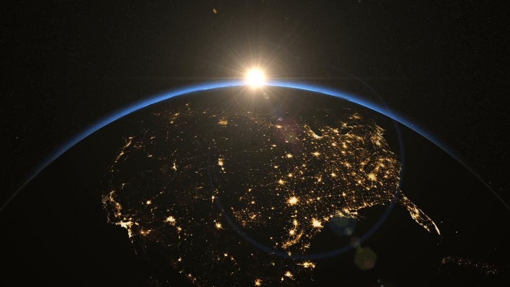 North America's City Lights at Night from Space wallpaper