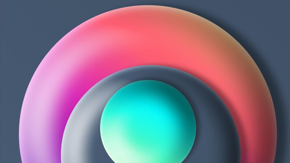 Pastel circles in 3D wallpaper