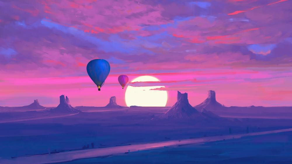 Purple landscape of hot air balloons at sunset wallpaper