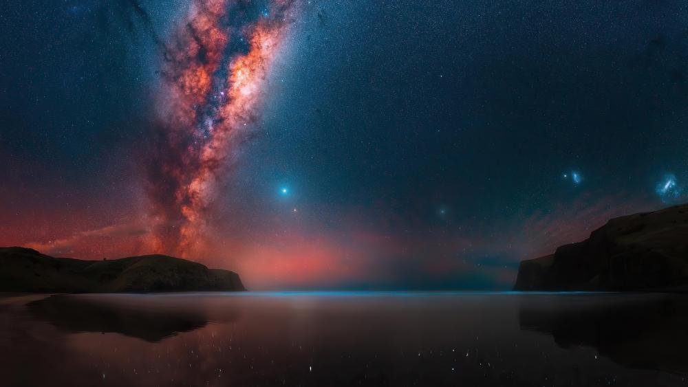 Milky Way in landscape of lake and mountains wallpaper