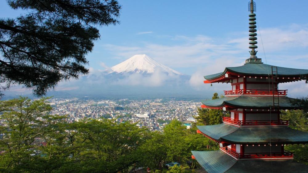 Mount Fuji from Arakurayama Sengen Park wallpaper