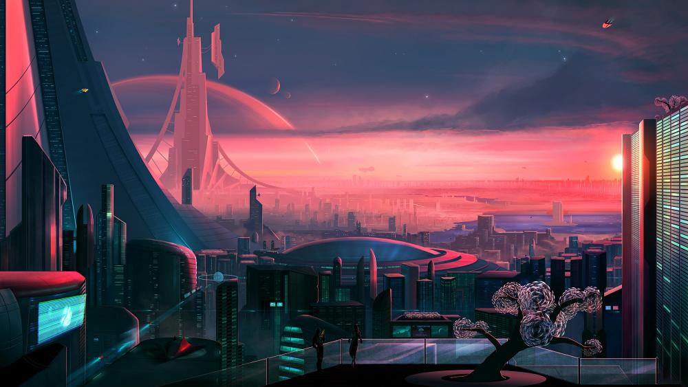 Pink futurisctic city wallpaper