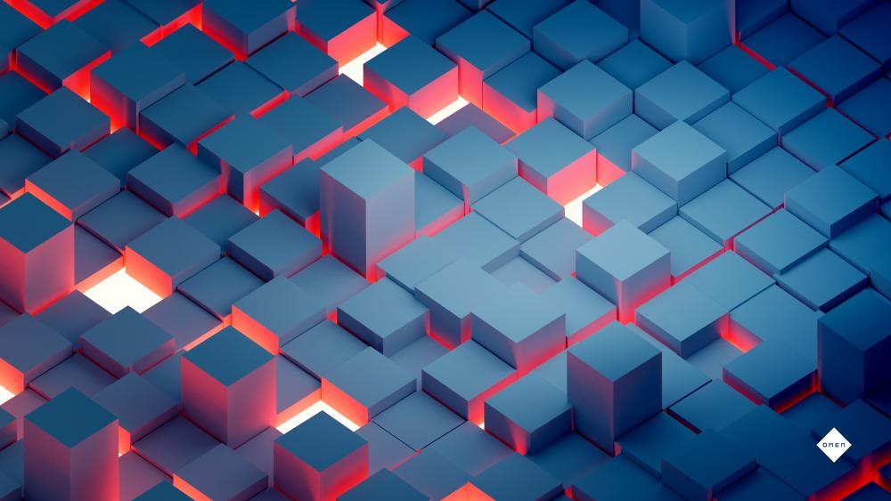 Glowing cubes wallpaper