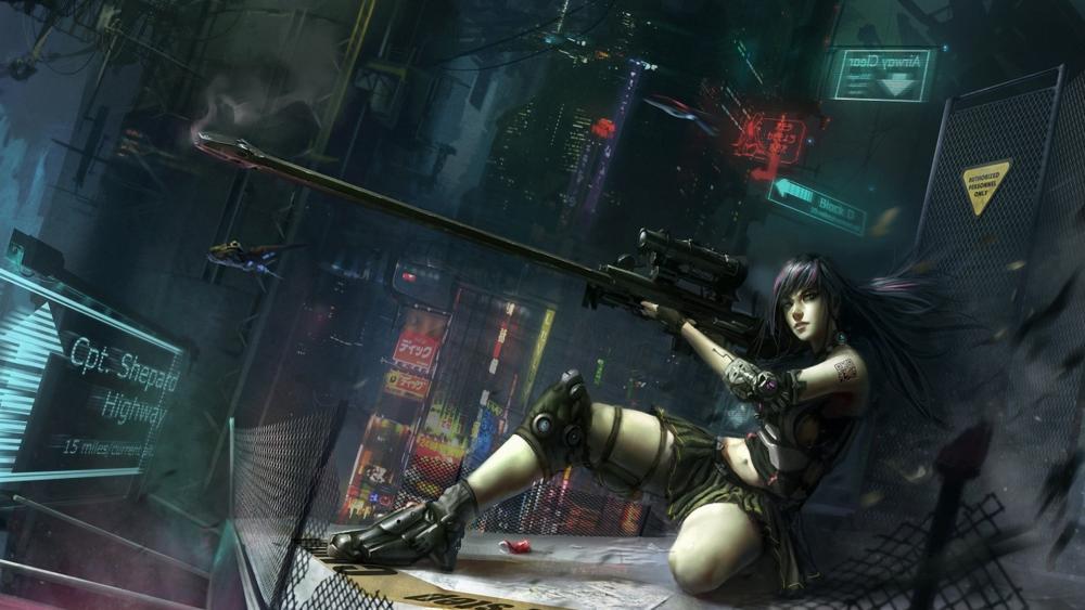 cyberpunk warrior girl wallpaper