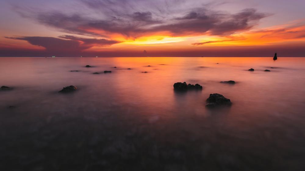 Koh Phangan coral reef at sunset wallpaper