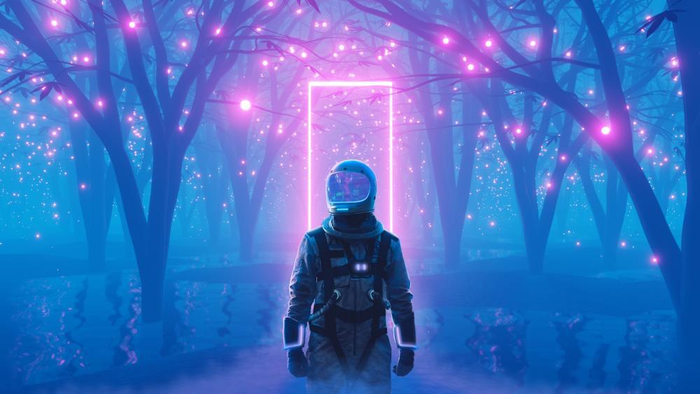 Astronaut Neon wallpaper