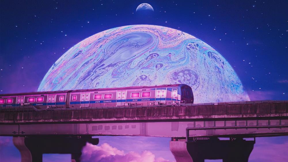 Pink train in the space digital art wallpaper