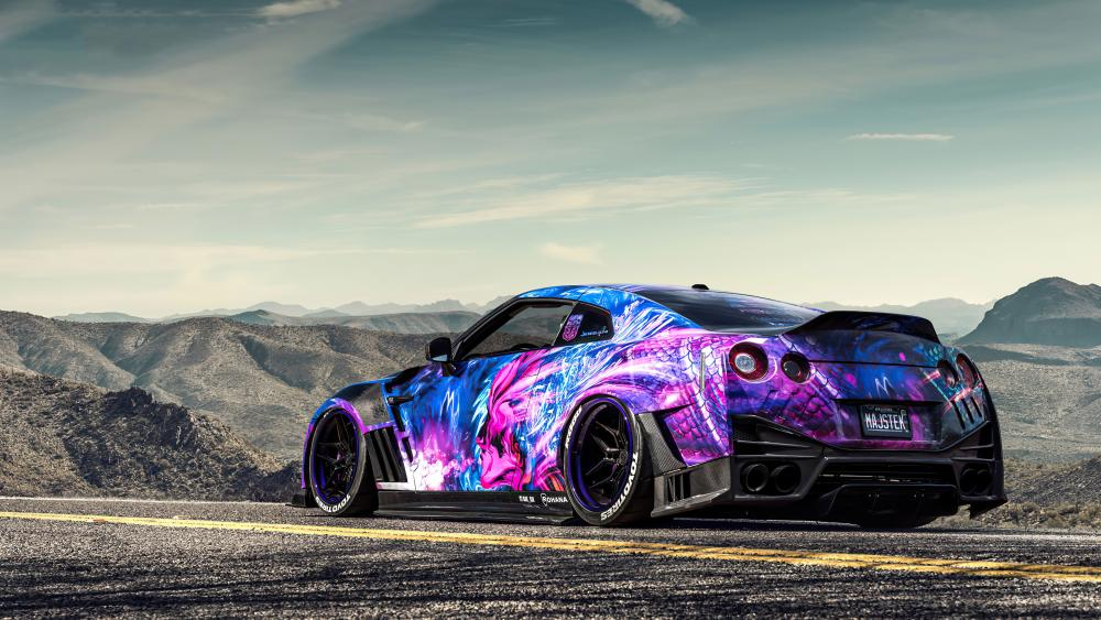 Colorful Nissan GT-R wallpaper