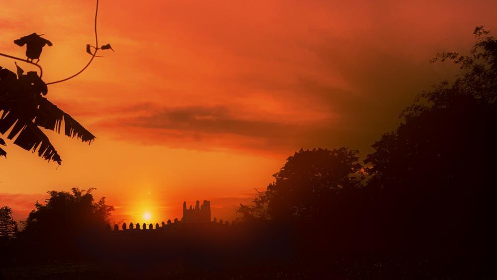 Castle in the sunset wallpaper