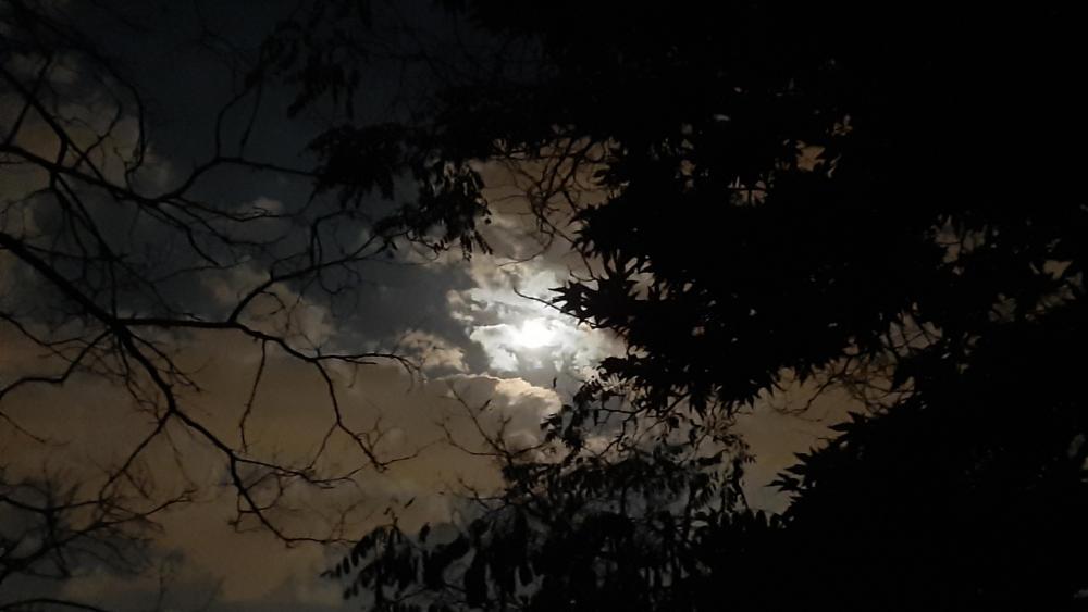 Cloudy sky with moon in night Kolakchal, Tehran, Iran wallpaper