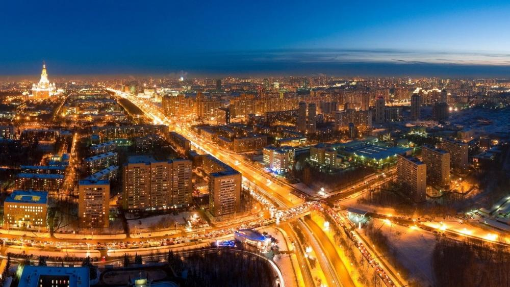 Cityscape of Moscow wallpaper