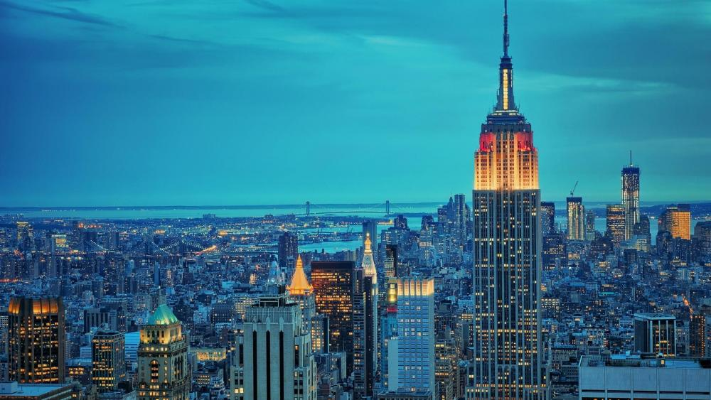 Empire State Building in a blue hour wallpaper