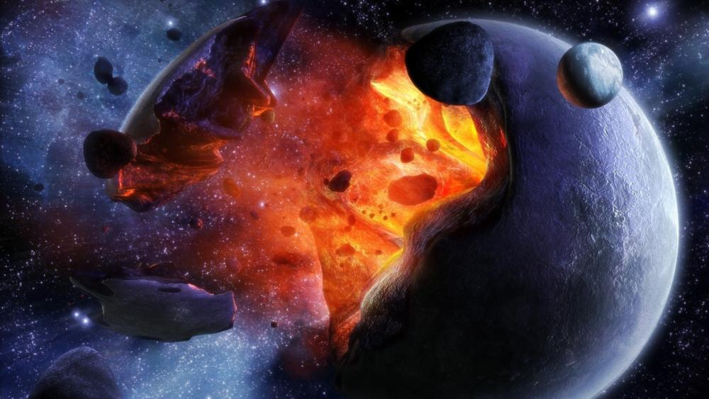 Planet explosion art wallpaper