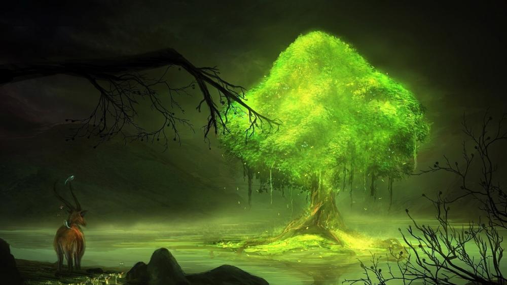 Green tree wallpaper
