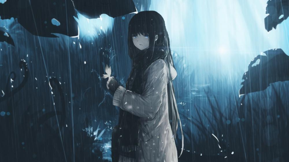Sad Anime Girl in Rain wallpaper
