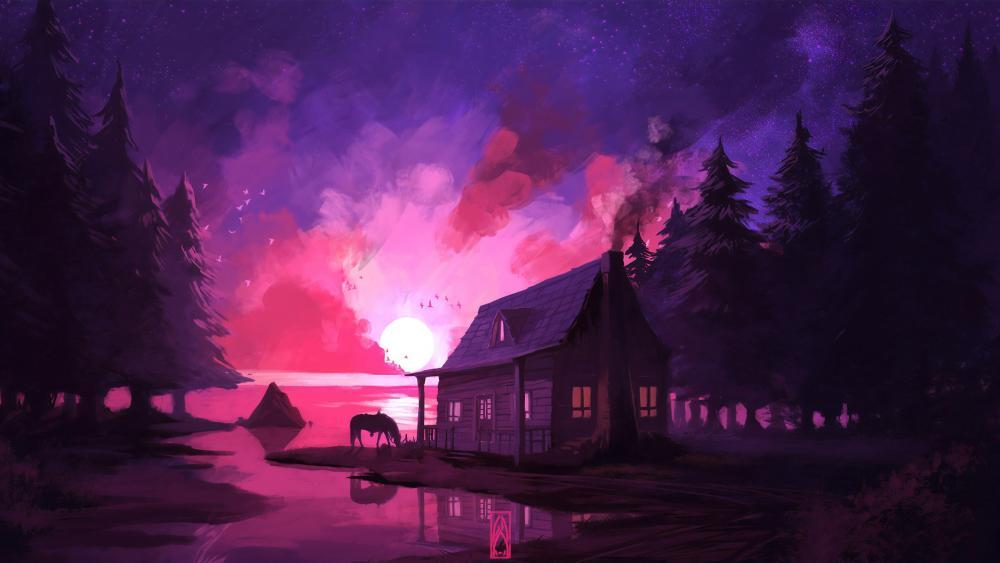 Lakeside house wallpaper