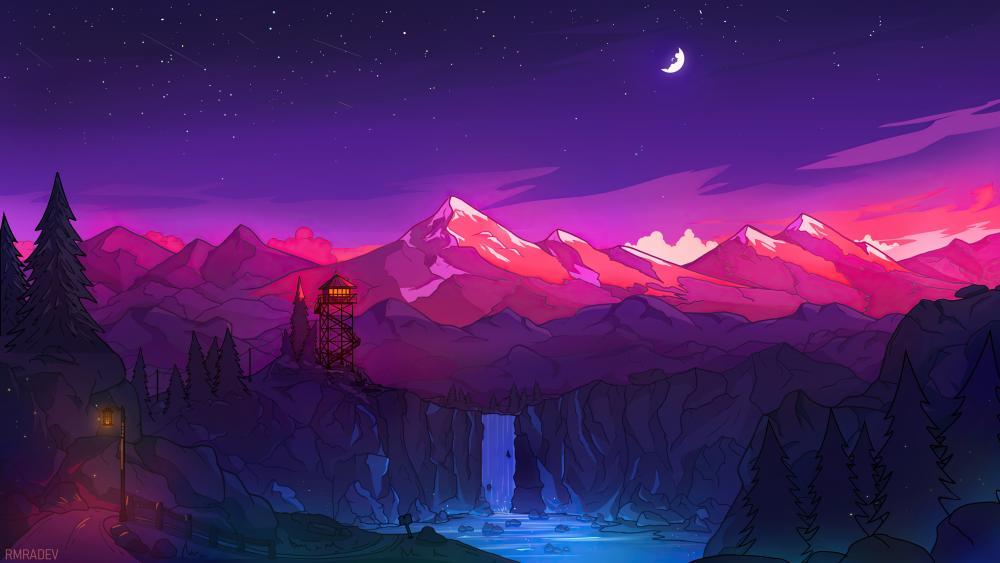 Digital night landscape wallpaper