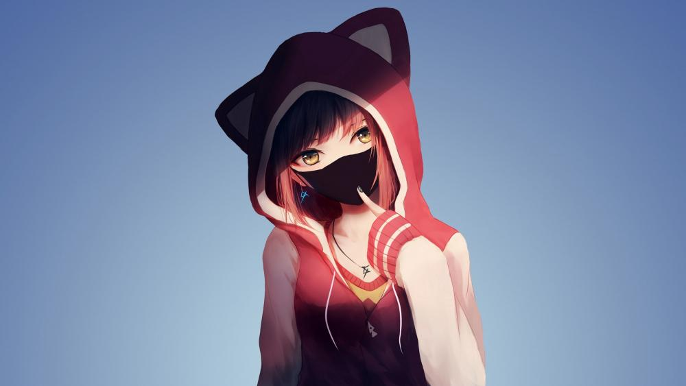 Anime girl with hoodie wallpaper