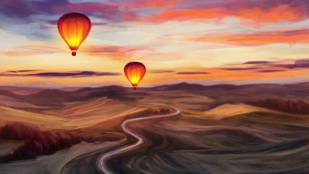 Hot air balloon painting wallpaper