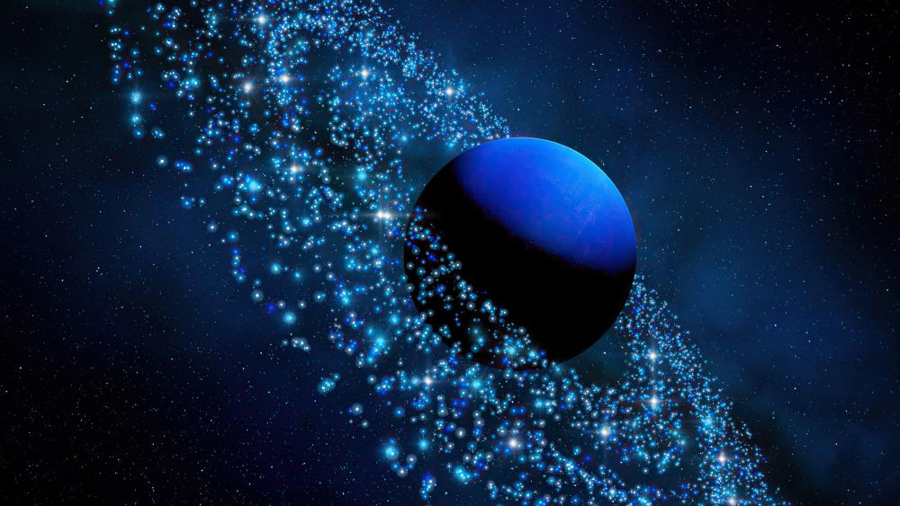 Neptune with asteroid ring wallpaper