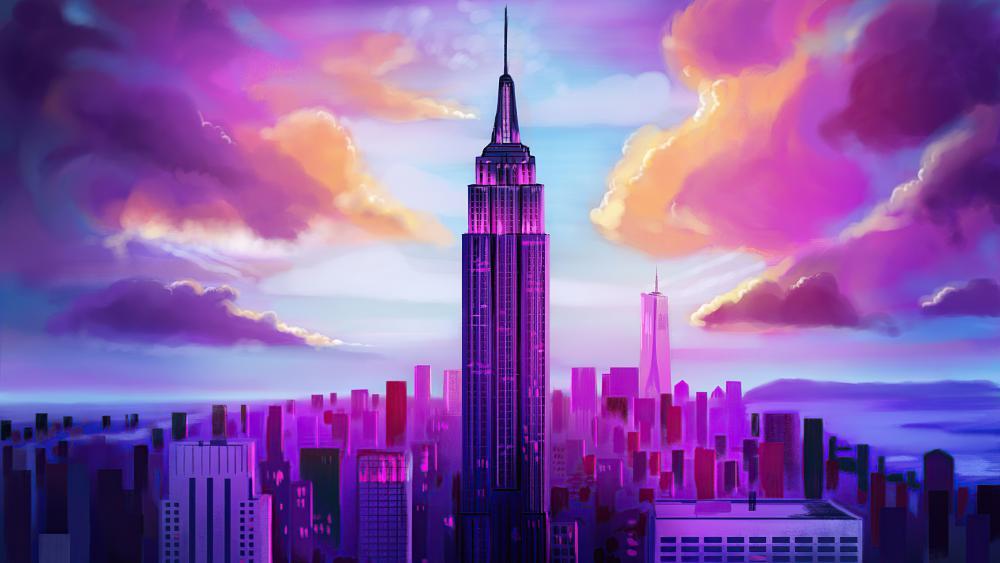 New York City digital painting art wallpaper