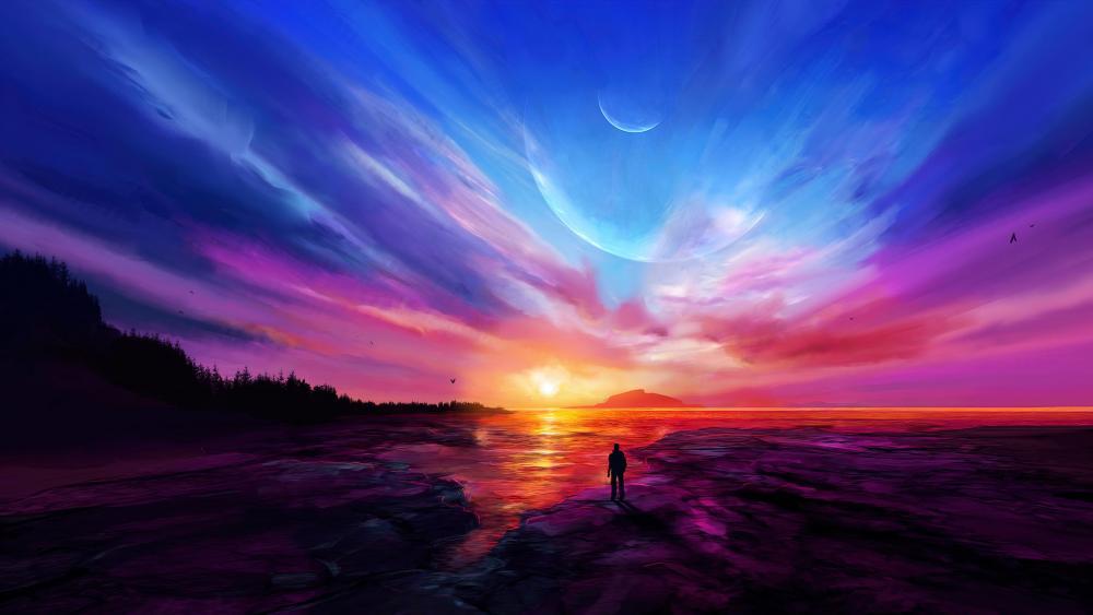 Awesome futuristic sunset wallpaper