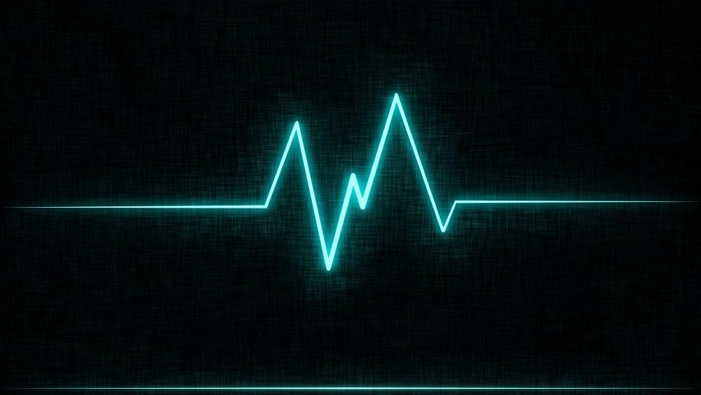 Heart Beat Cyan Glow 8K wallpaper