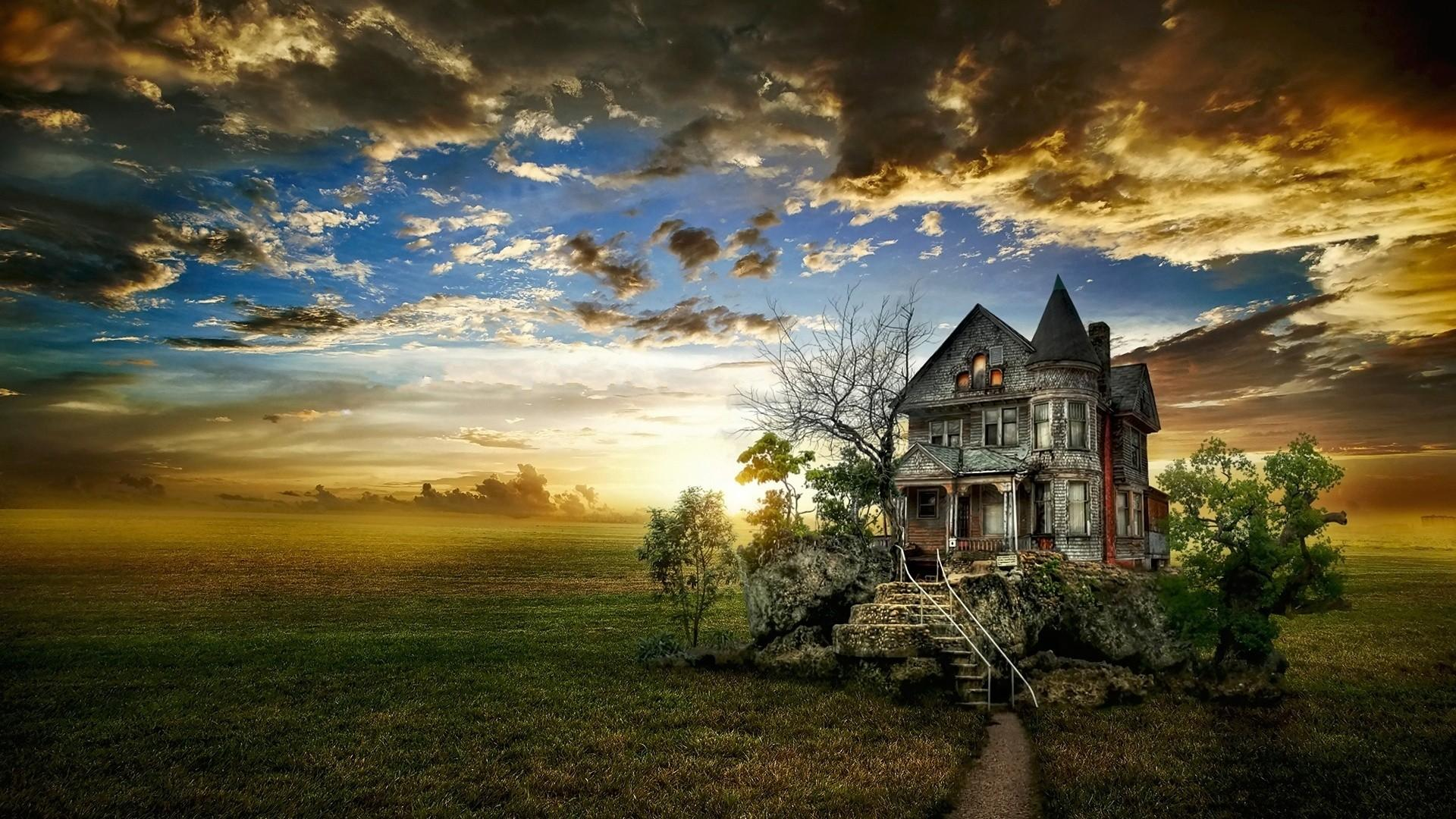 Lonely old house In the middle of the field wallpaper