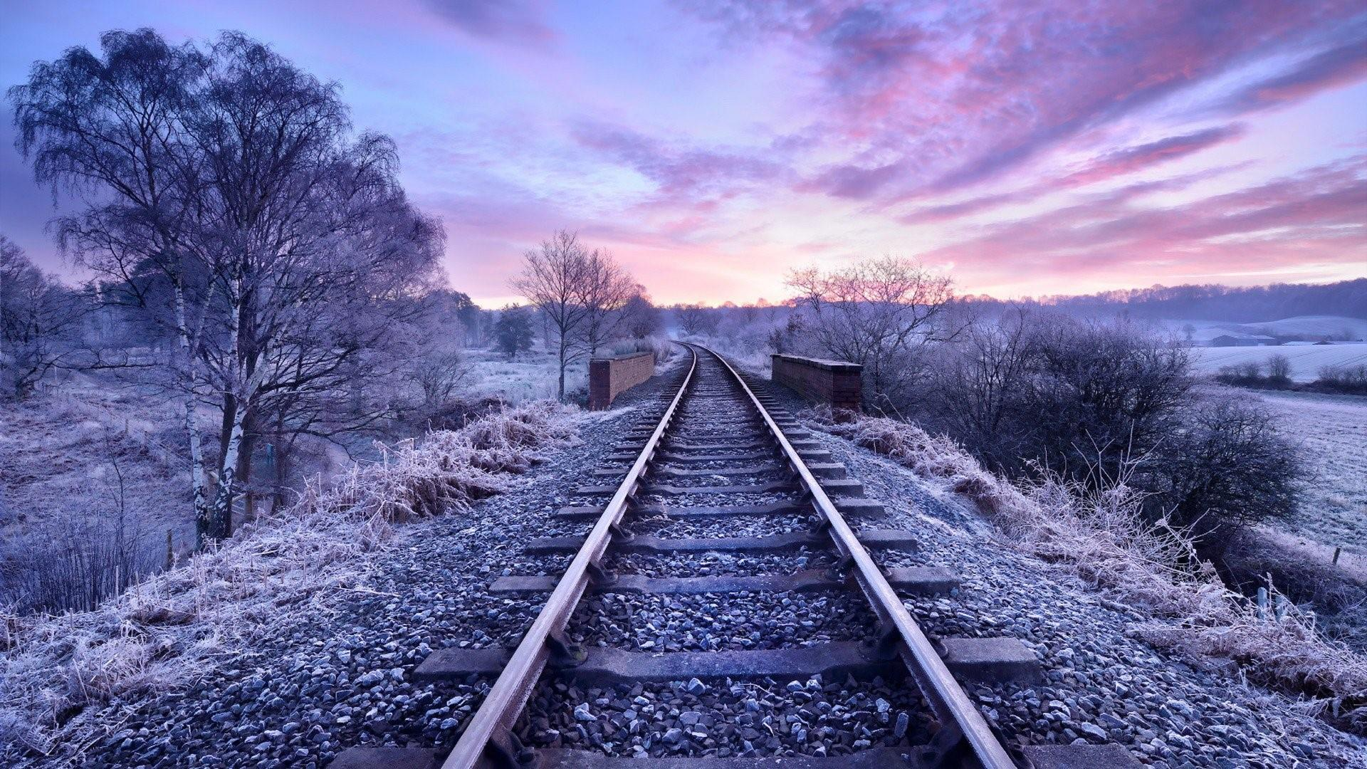 Purple landscape with railway wallpaper