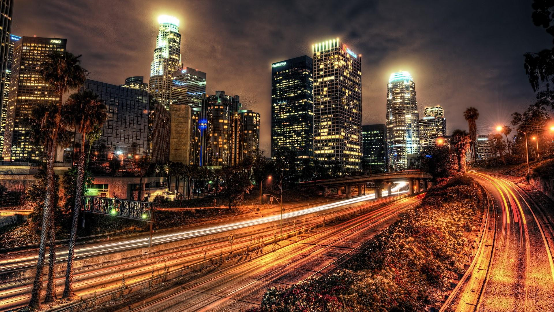 Los Angeles at night in motion  wallpaper