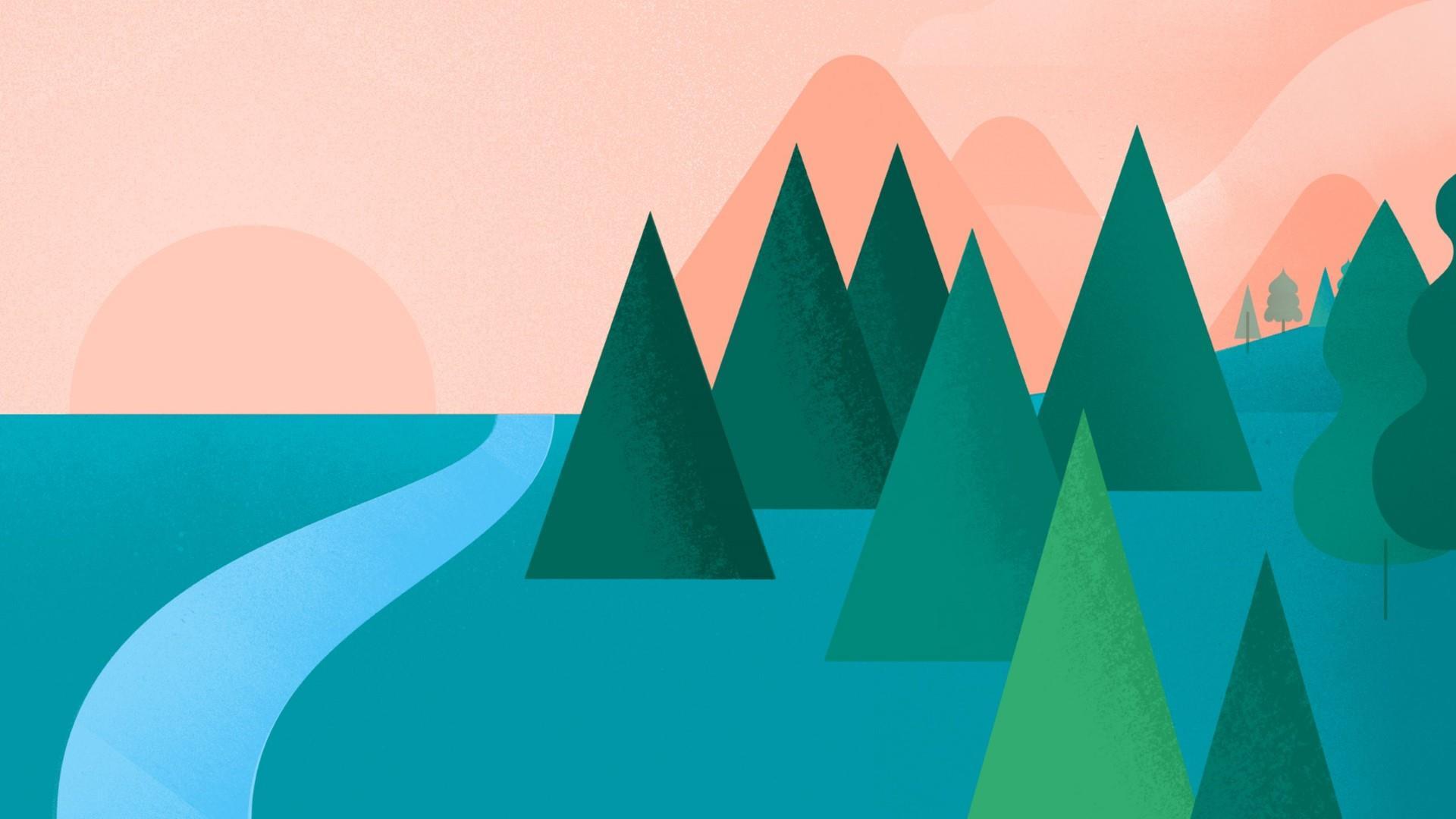 Material Design Pine Trees  wallpaper