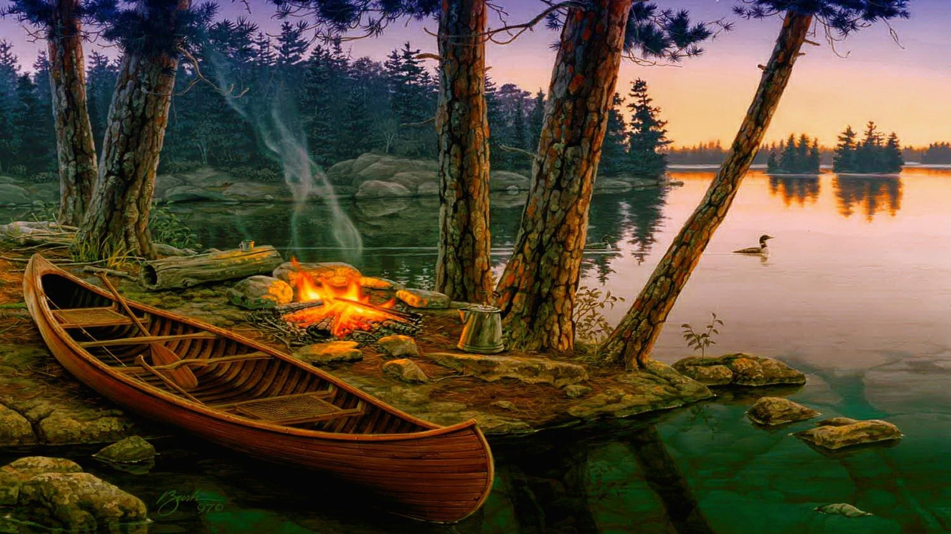 Campfire at the lakeside wallpaper