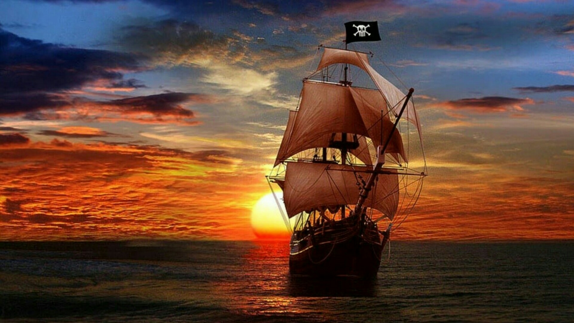 Pirate ship in the sunset - Fantasy art wallpaper