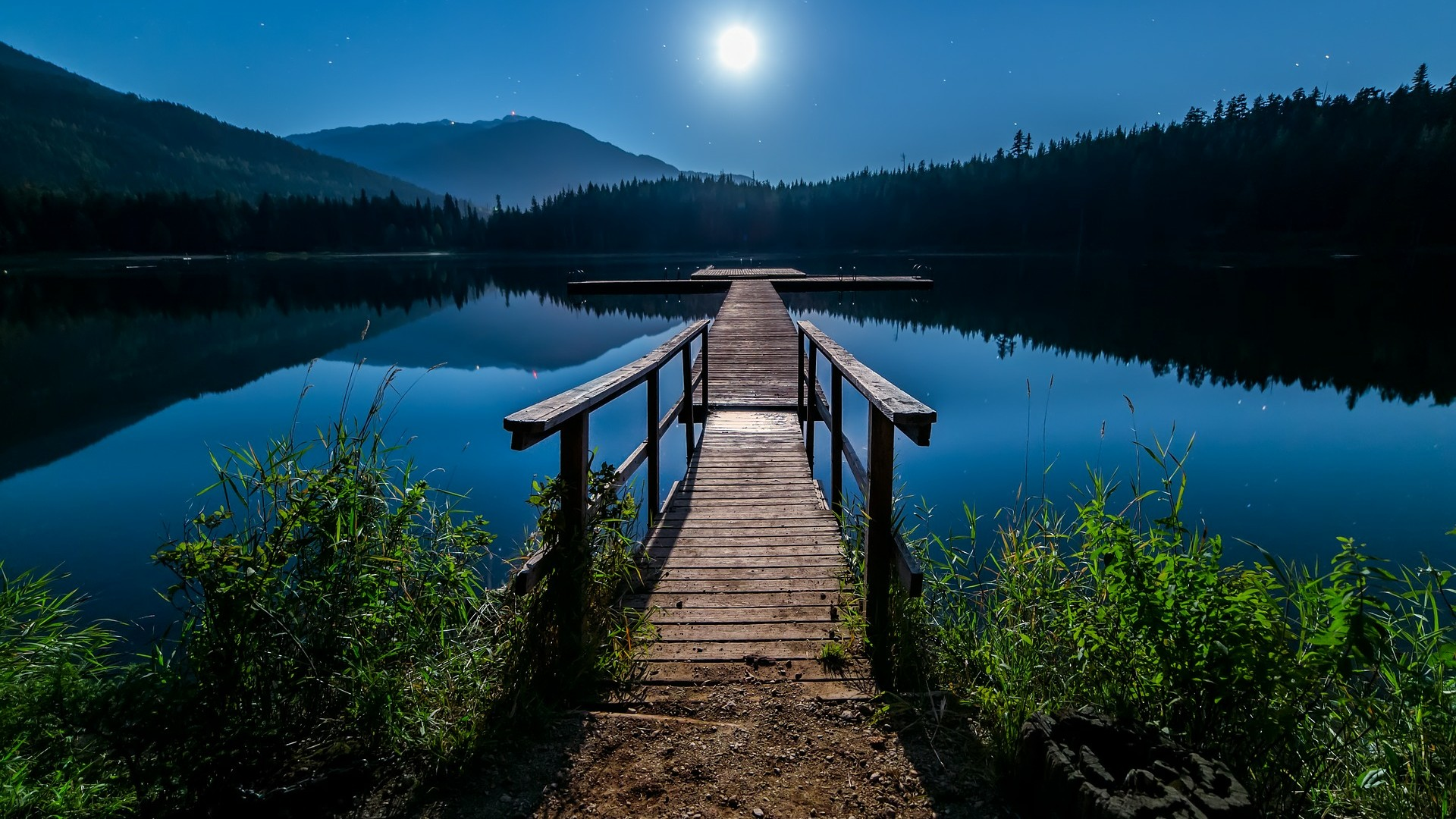 Iconic moonlight night view of Mount Hood and Lost Lake wallpaper