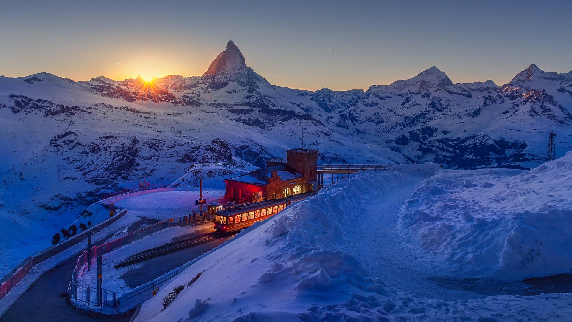 Matterhorn view from Gornergrat railway station wallpaper
