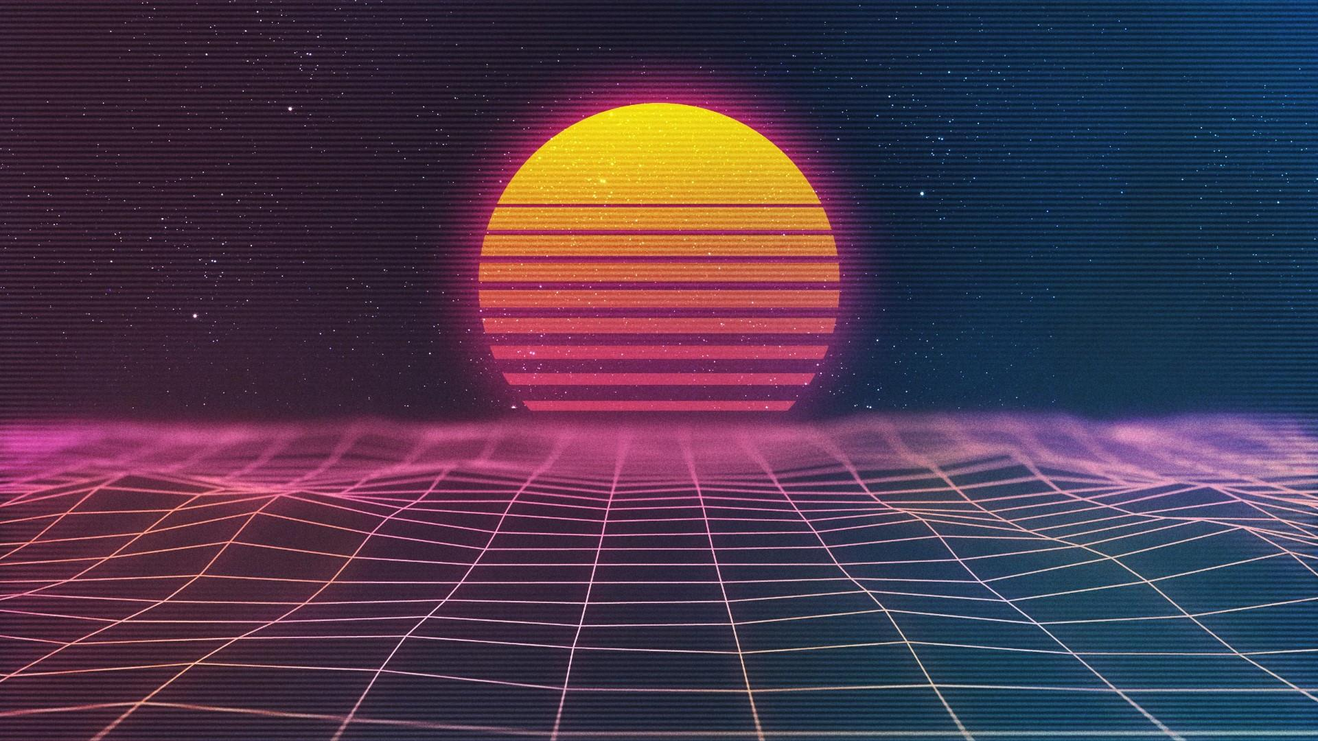 Neon retrowave art wallpaper