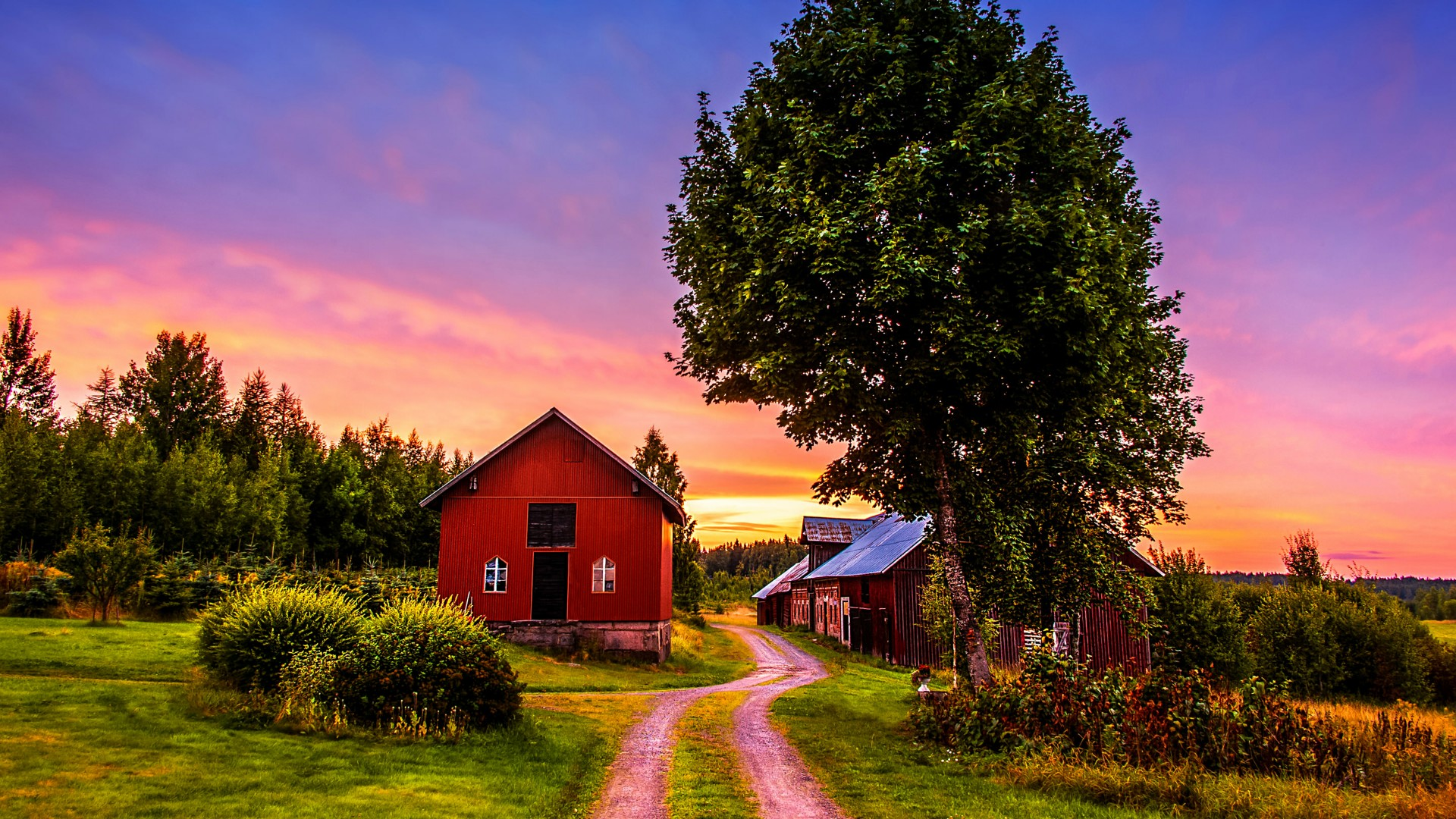 Farm house with a pathway wallpaper
