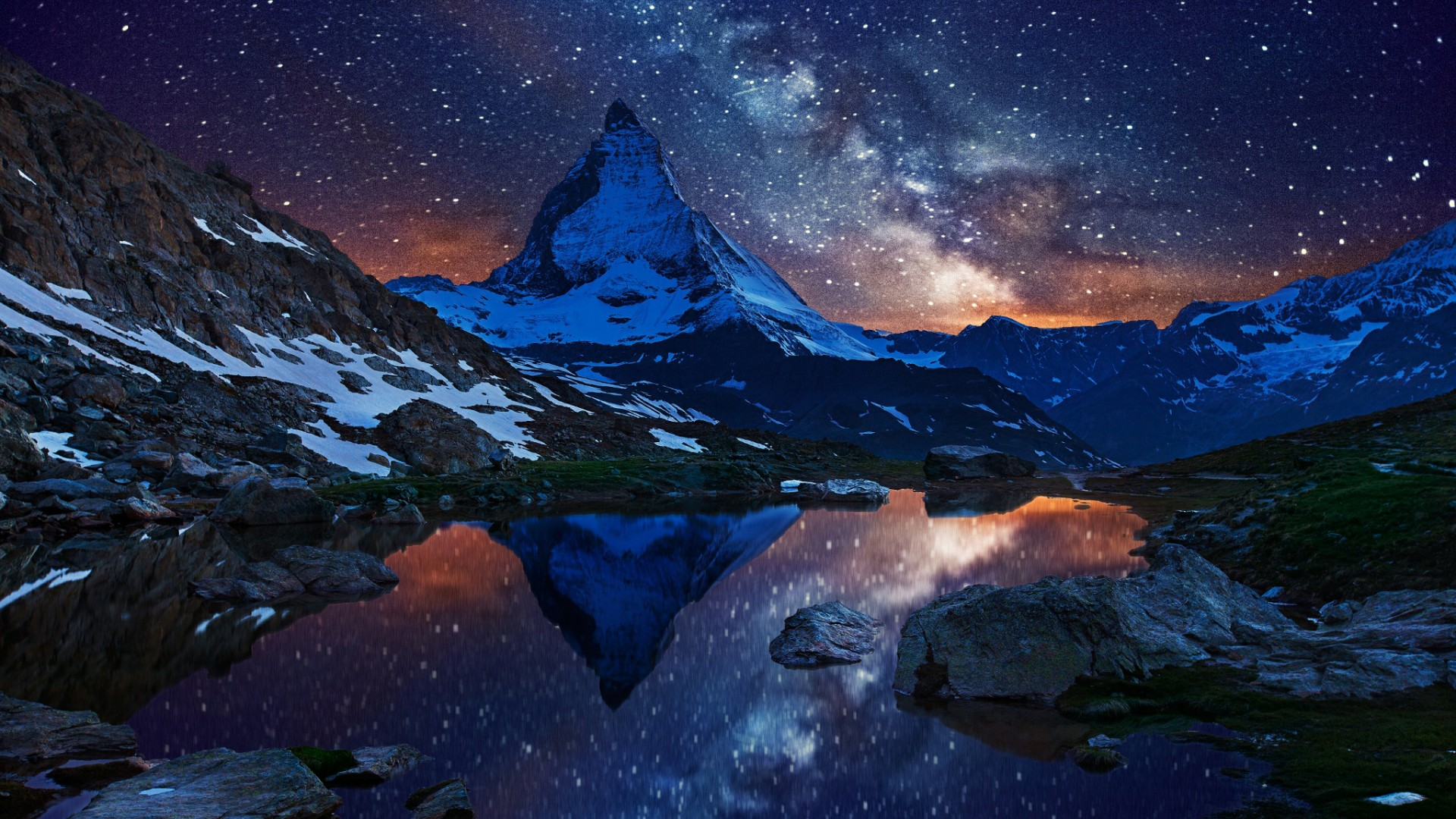 Milky Way over Matterhorn (Switzerland) wallpaper