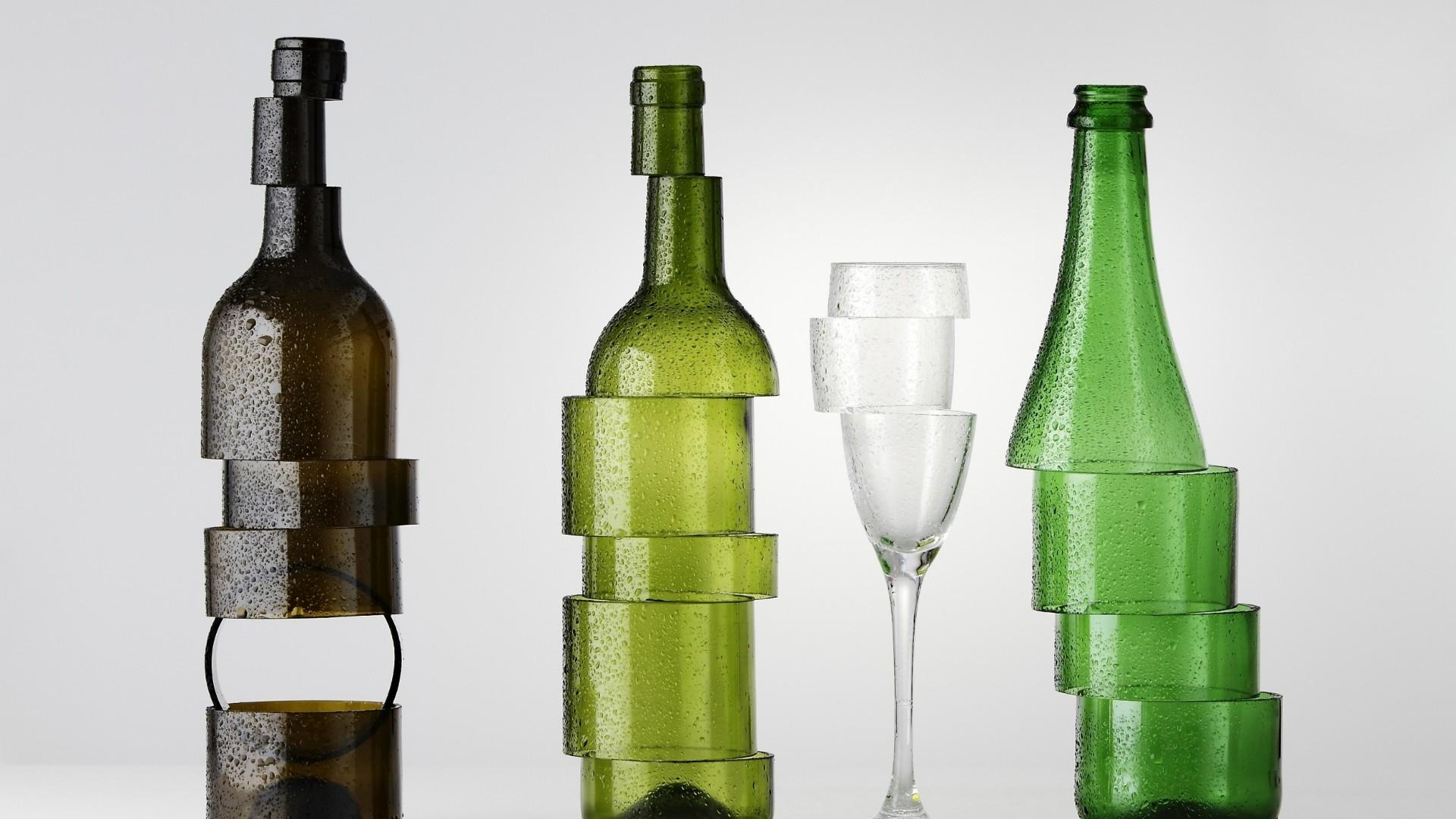 Artistic glasses - Sliced bottles  wallpaper