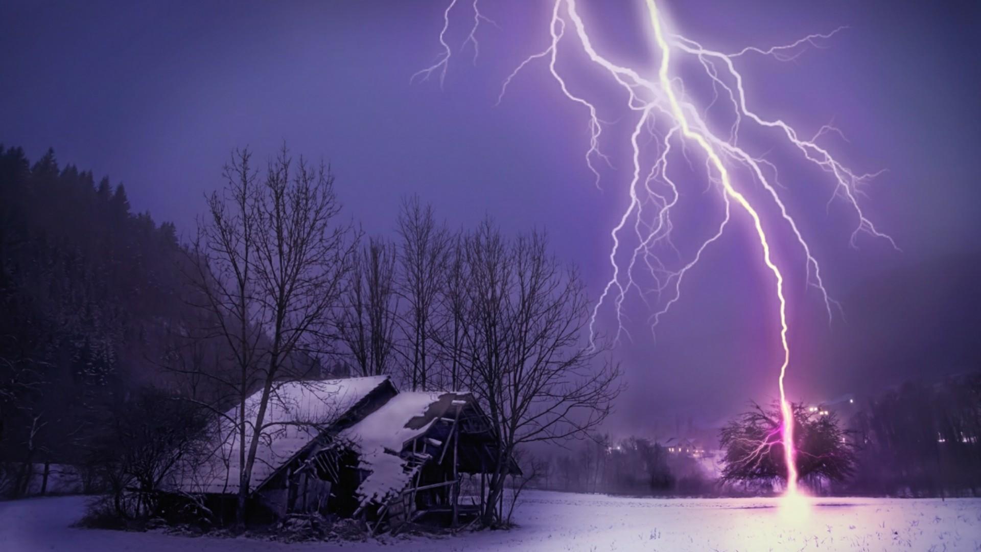 Lightning strike in winter wallpaper