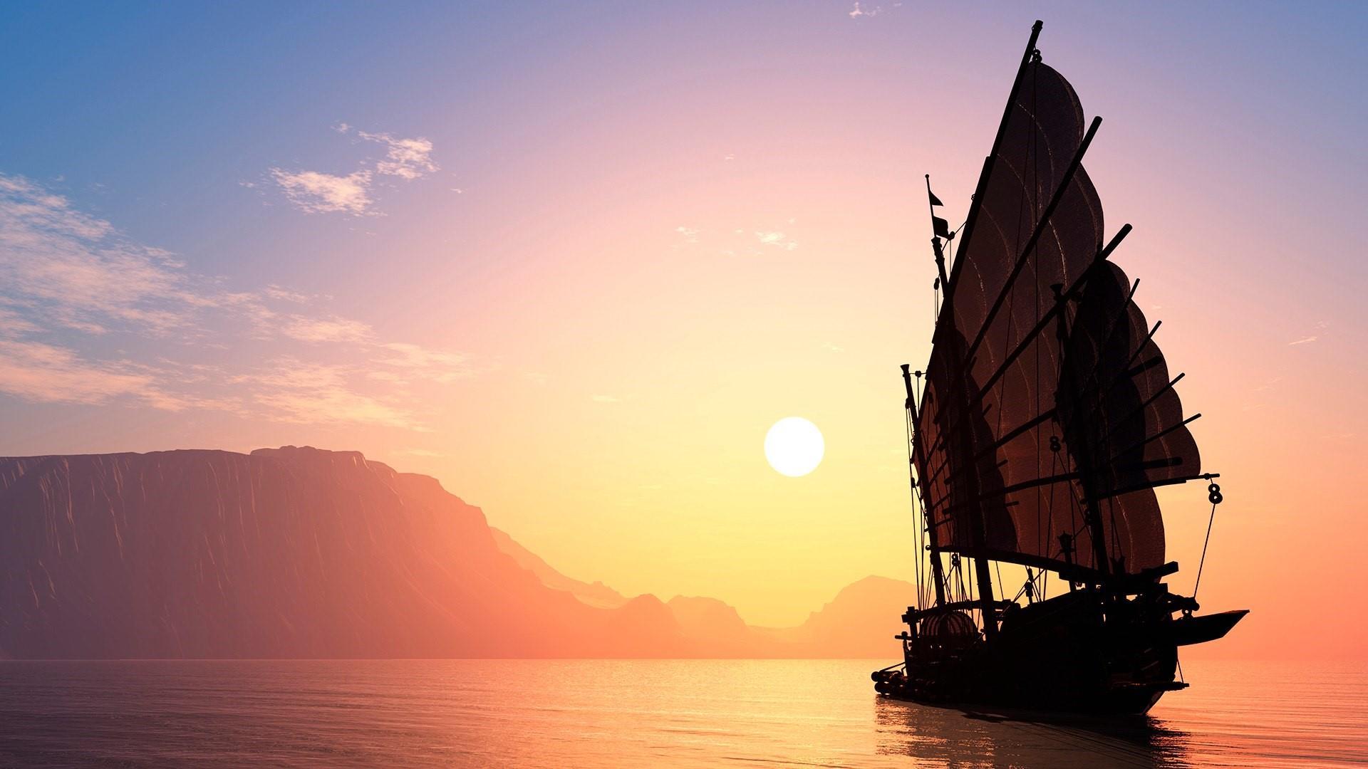 Ship sailing toward the sun wallpaper