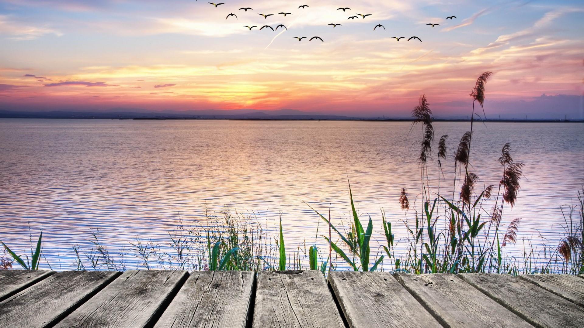 Lake view form a pier wallpaper