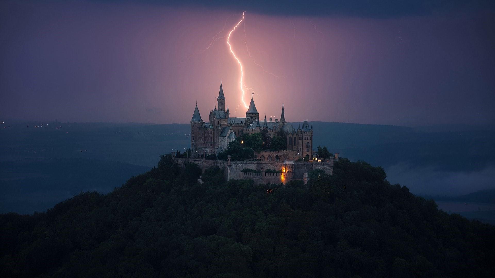 Hohenzollern Castle with lightning strike wallpaper