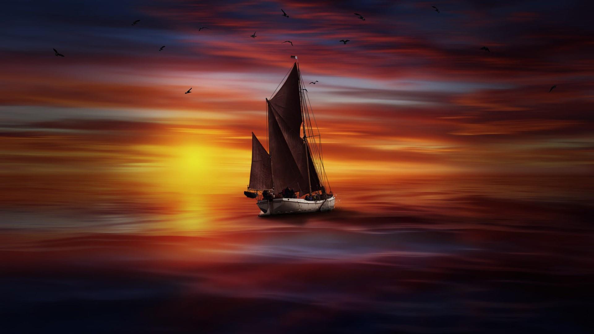 Sailboat in the sunset - Digital art wallpaper