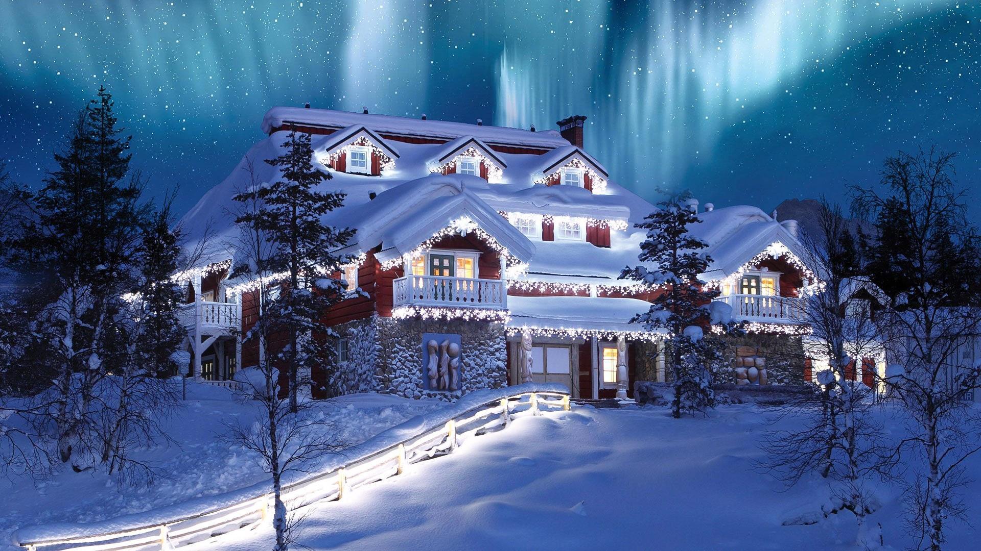 Christmas Northern Lights -Saariselkä, Finland wallpaper
