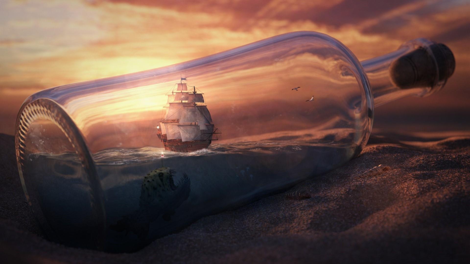 World in bottle wallpaper